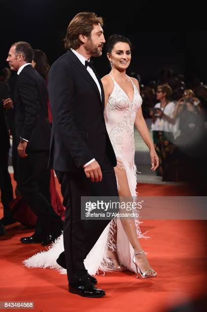 Javier Bardem and Penelope Cruz walk the red carpet ahead of the 'Loving Pablo' screening during the 74th Venice Film Festival at Sala Grande on...