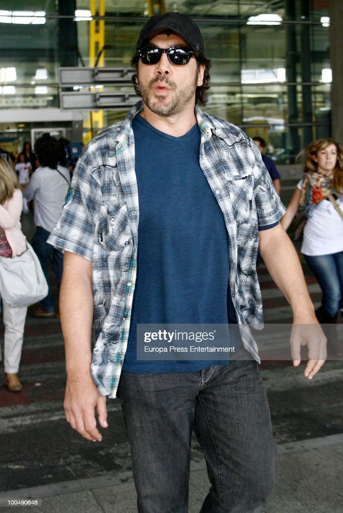 Javier Bardem arrives at the airport Barajas on May 24, 2010 in Madrid, Spain.