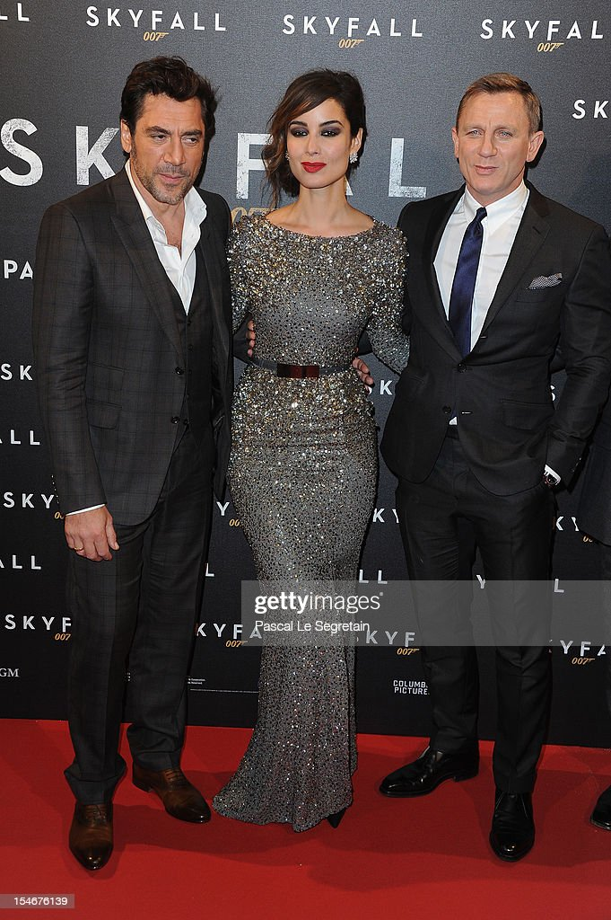 Javier Bardem, Berenice Marlohe and Daniel Craig attend the premiere of the latest James Bond 'Skyfall' at Cinema UGC Normandie on October 24, 2012 in Paris, France.