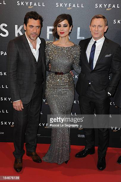 Javier Bardem Berenice Marlohe and Daniel Craig attend the premiere of the latest James Bond Skyfall at Cinema UGC Normandie on October 24 2012 in...