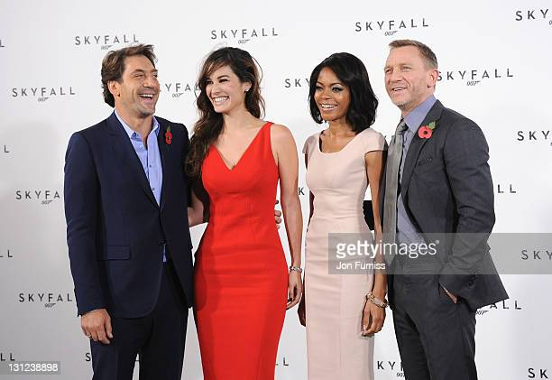 Javier Bardem Berenice Marlohe Naomie Harris and Daniel Craig attend a photo call with cast and filmmakers to mark the start of production on the...