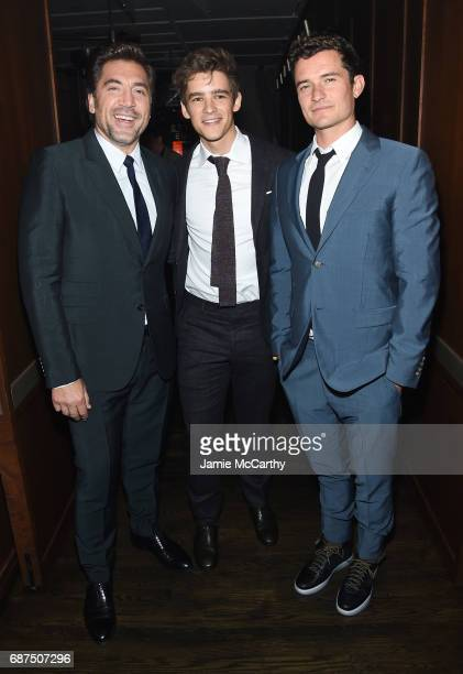 Javier Bardem Brenton Thwaites and Orlando Bloom attend the after party for the screening of 'Pirates Of The Caribbean Dead Men Tell No Tales' hosted...