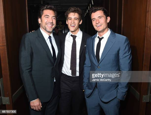 Javier Bardem Brenton Thwaites and Orlando Bloom attend the after party for the screening of Pirates Of The Caribbean Dead Men Tell No Tales hosted...