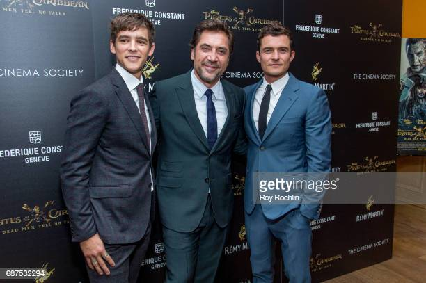 Javier Bardem Brenton Thwaites and Orlando Bloom attend The Cinema Society host a screening of Pirates Of The Caribbean Dead Men Tell No Tales at...