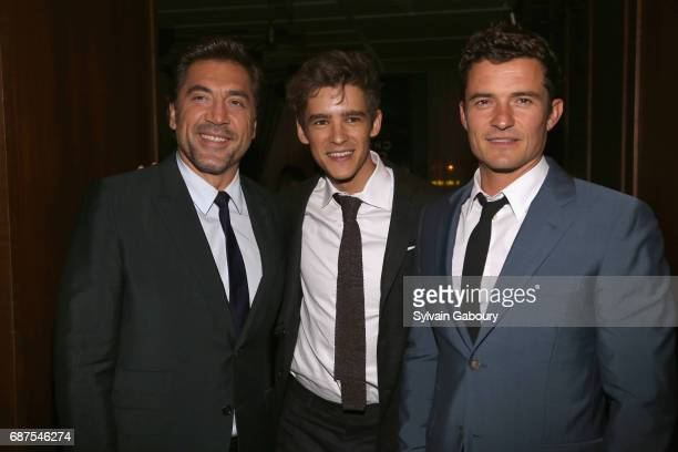 Javier Bardem Brenton Thwaites and Orlando Bloom attend The Cinema Society with Remy Martin Frederique Constant host the after party for 'Pirates of...