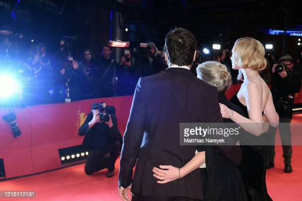 "Javier Bardem, director Sally Potter, Elle Fanning and Salma Hayek pose at the ""The Roads Not Taken"" premiere during the 70th Berlinale International..."