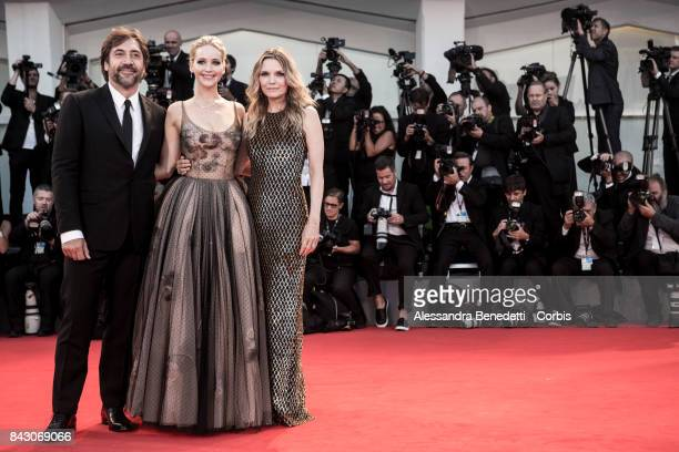 Javier Bardem Jennifer Lawrence and Michelle Pfeiffer attend the 'mother' screening during the 74th Venice Film Festival at Sala Grande on September...