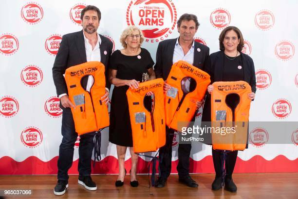 Javier Bardem Madrid Mayor Manuela Carmena president of Open Arms Oscar Camps and Barcelona Mayor Ada Colau attends to solidary encounter to raise...