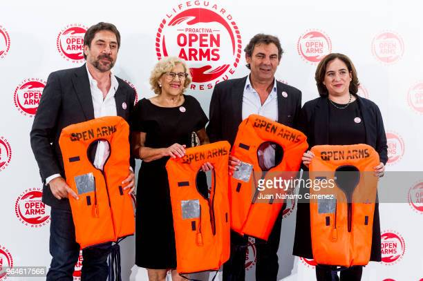 Javier Bardem Manuela Carmena Oscar Camps and Ada Colau attend Open Arms GNO meeting at Pabellon de los Jardines de Cecilio Rodriguez on May 31 2018...