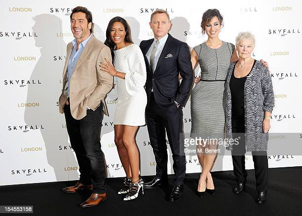 Javier Bardem Naomie Harris Daniel Craig Berenice Marlohe and Dame Judi Dench attend a photocall for the new James Bond film 'Skyfall' at The...
