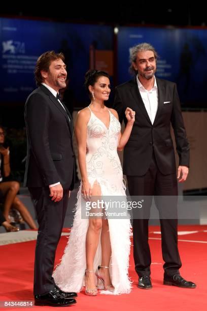 Javier Bardem Penelope Cruz and Fernando Leon de Aranoa walk the red carpet ahead of the 'Loving Pablo' screening during the 74th Venice Film...