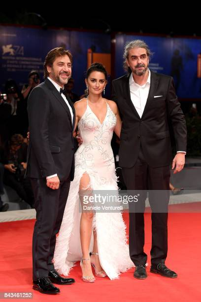 Javier Bardem Penelope Cruz and Fernando Leon de Aranoa walk the red carpet ahead of the 'Loving Pablo' screening during the 74th Venice Film...