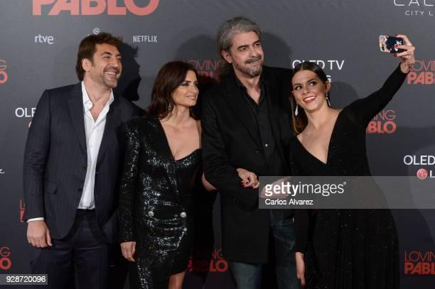 Javier Bardem Penelope Cruz Fernando Leon de Aranoa and Julieth Restrepo attend 'Loving Pablo' Madrid Premiere on March 7 2018 in Madrid Spain