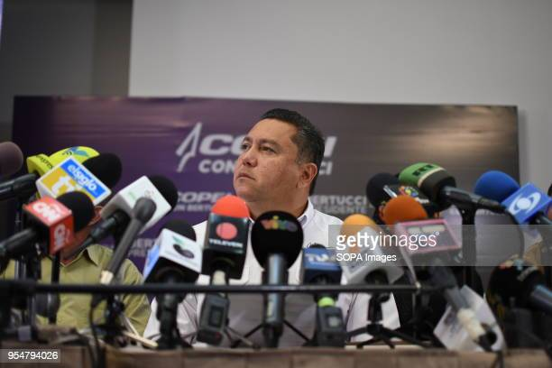 Javier bertucci seen speaking to the media Presidential candidate Javier Bertucci hosted a press conference where he reported that he maintained his...