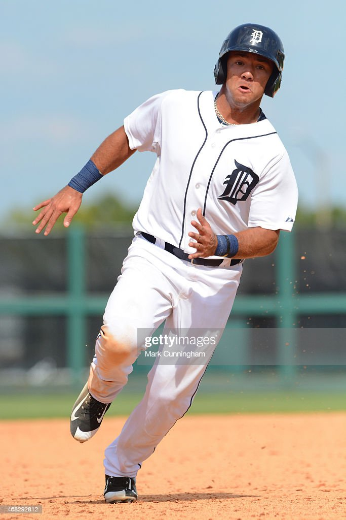 Javier Betancourt #33 of the Detroit Tigers runs the bases during the Spring Training game against the New York Mets at Joker Marchant Stadium on March 21, 2015 in Lakeland, Florida. The Tigers defeated the Mets 6-4.