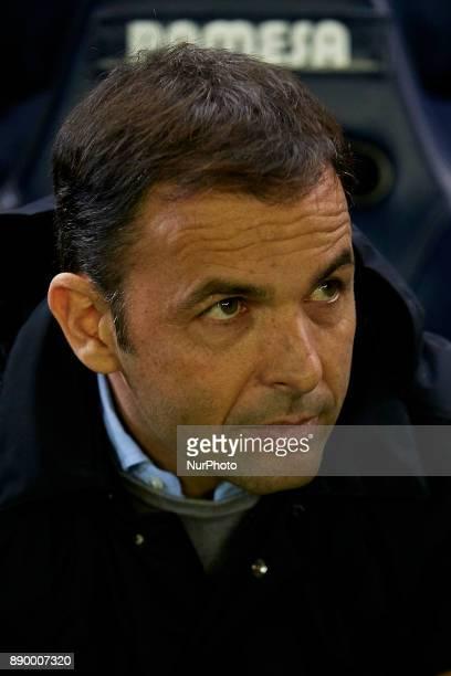 Javier Calleja head coach of Villarreal CF looks on prior to the La Liga game between Villarreal CF and FC Barcelona at Estadio de la Ceramica on...