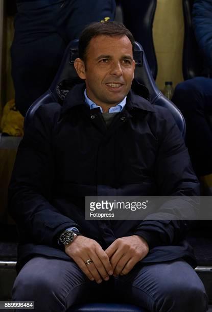 Javier Calleja Manager of Villarreal looks on prior to the La Liga match between Villarreal and Barcelona at Estadio La Ceramica on December 10 2017...
