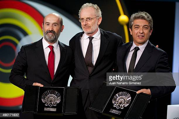 Javier Camara Umberto Pasolini and Ricardo darin are seen during the closing ceremony of 63rd San Sebastian Film Festival at Kursaal on September 26...