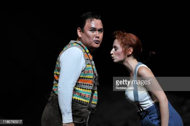 Javier Camarena as Tonio and Sabine Devieilhe as Marie in The Royal Opera's production of Gaetano Donizetti'sLa Fille du regiment directed by...