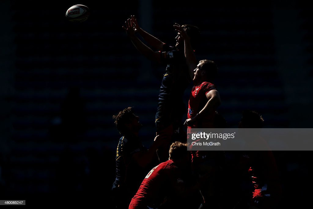 Javier Carrion #1 of Spain contests a lineout against Wales during the Tokyo Sevens, in the six round of the HSBC Sevens World Series at the Prince Chichibu Memorial Ground on March 23, 2014 in Tokyo, Japan.