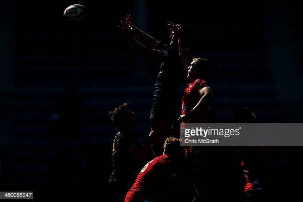 Javier Carrion of Spain contests a lineout against Wales during the Tokyo Sevens, in the six round of the HSBC Sevens World Series at the Prince...