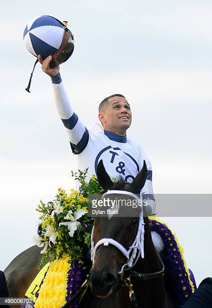 Javier Castellano celebrates after winning the Breeders' Cup Distaff abord Stopchargingmaria during day one of the Breeders' Cup at Keeneland...