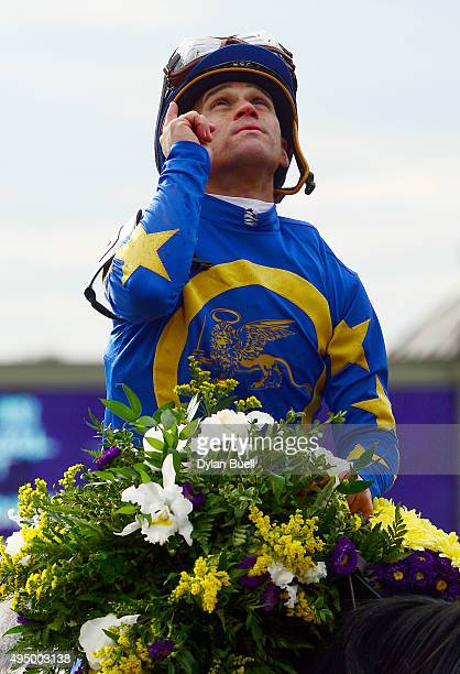 Javier Castellano celebrates after winning the Las Vegas Breeders' Cup Dirt Mile riding Liam's Map at Keeneland Racecourse on October 30 2015 in...