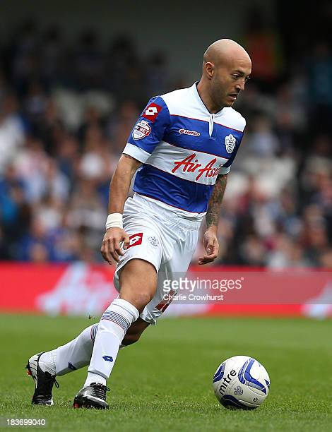 Javier Chevanton of QPR attacks during the Sky Bet Championship match between Queens Park Rangers and Barnsley at Loftus Road on October 05 2013 in...