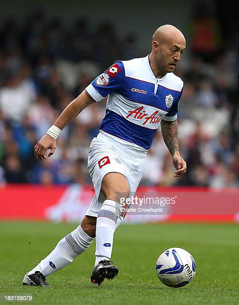 Javier Chevanton of QPR in action during the Sky Bet Championship match between Queens Park Rangers and Barnsley at Loftus Road on October 05 2013 in...