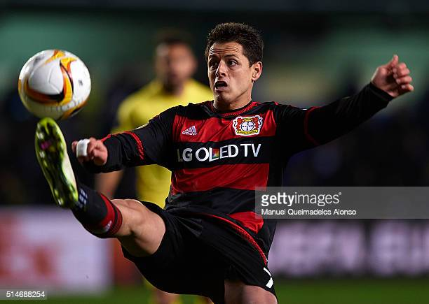 Javier 'Chicharito' Hernandez of Bayer Leverkusen controls the ball during the UEFA Europa League Round of 16 first leg match between Villarreal and...