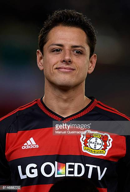 Javier 'Chicharito' Hernandez of Bayer Leverkusen looks on prior to the UEFA Europa League Round of 16 first leg match between Villarreal and Bayer...