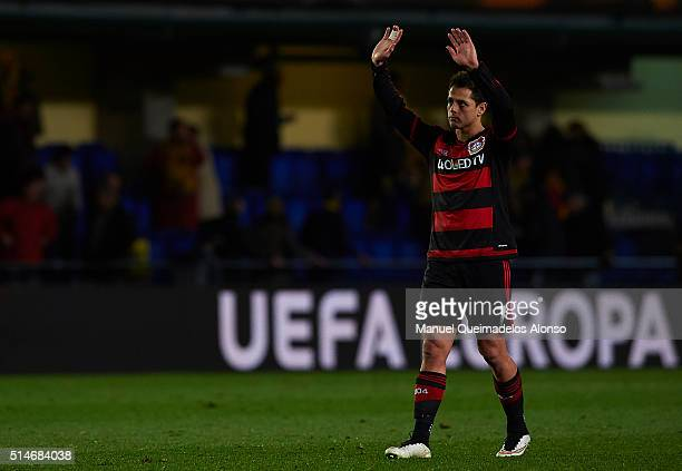 Javier 'Chicharito' Hernandez of Bayer Leverkusen reacts at the end of the UEFA Europa League Round of 16 first leg match between Villarreal and...