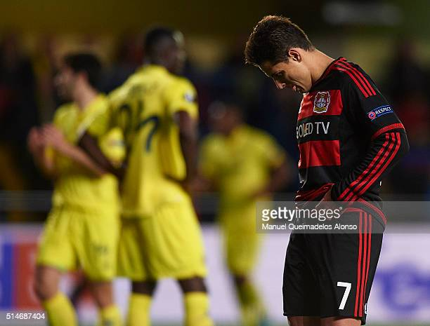 Javier 'Chicharito' Hernandez of Bayer Leverkusen reacts during the UEFA Europa League Round of 16 first leg match between Villarreal and Bayer...