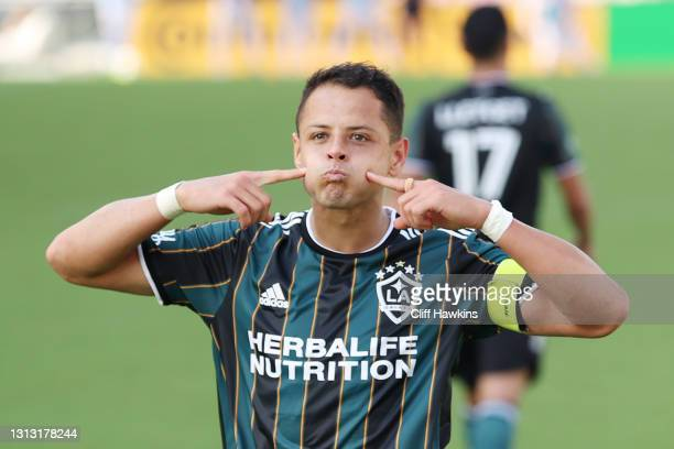 """Javier """"Chicharito"""" Hernandez of Los Angeles Galaxy celebrates after scoring a goal in the second half against the Inter Miami FC at DRV PNK Stadium..."""