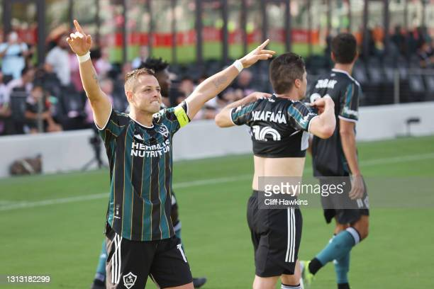 """Javier """"Chicharito"""" Hernandez of Los Angeles Galaxy celebrates with teammates after scoring a goal in the second half against the Inter Miami FC at..."""