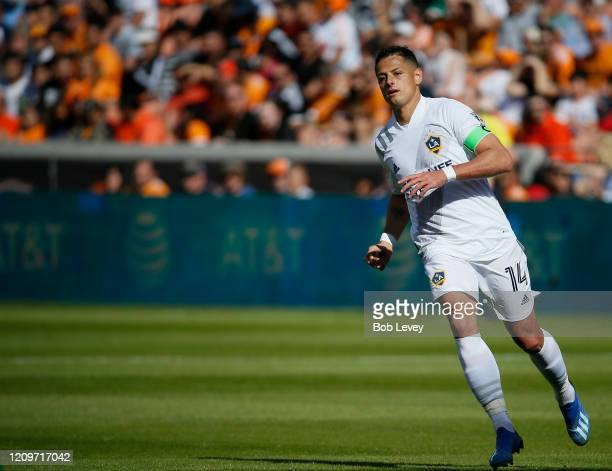 Javier Chicharito Hernandez of Los Angeles Galaxy during game action against the Houston Dynamo at BBVA Stadium on February 29 2020 in Houston Texas