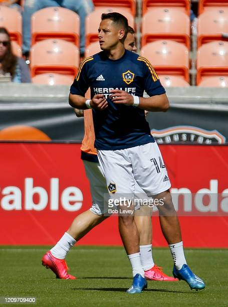 Javier Chicharito Hernandez of Los Angeles Galaxy warms up before playing the Houston Dynamo at BBVA Stadium on February 29 2020 in Houston Texas