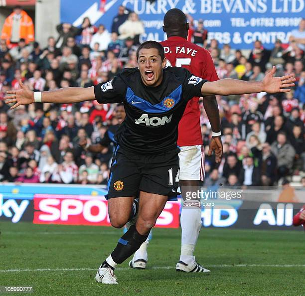 """Javier """"Chicharito"""" Hernandez of Manchester United celebrates scoring their second goal during the Barclays Premier League match between Stoke City..."""