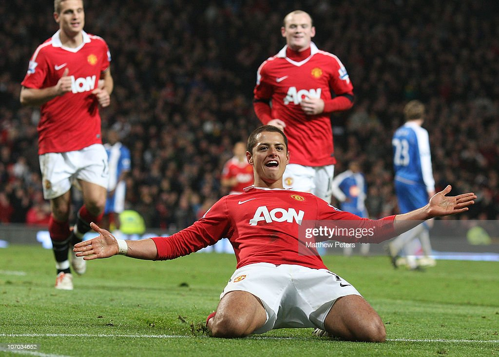 Javier 'Chicharito' Hernandez of Manchester United celebrates scoring their second goal during the Barclays Premier League match between Manchester United and Wigan Athletic at Old Trafford on November 20, 2010 in Manchester, England.
