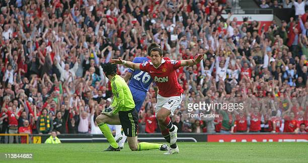 Javier Chicharito Hernandez of Manchester United celebrates scoring their first goal during the Barclays Premier League match between Manchester...