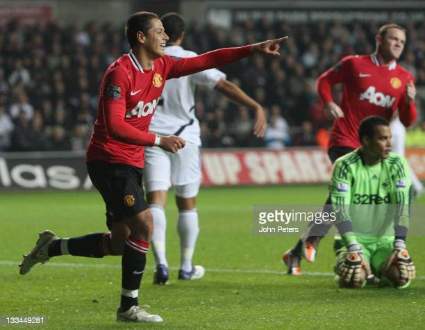 """Javier """"Chicharito"""" Hernandez of Manchester United celebrates scoring their first goal during the Barclays Premier League match between Swansea City..."""