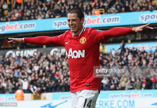 Javier Chicharito Hernandez of Manchester United celebrates scoring their fifth goal during the Barclays Premier League match between Wolverhampton...