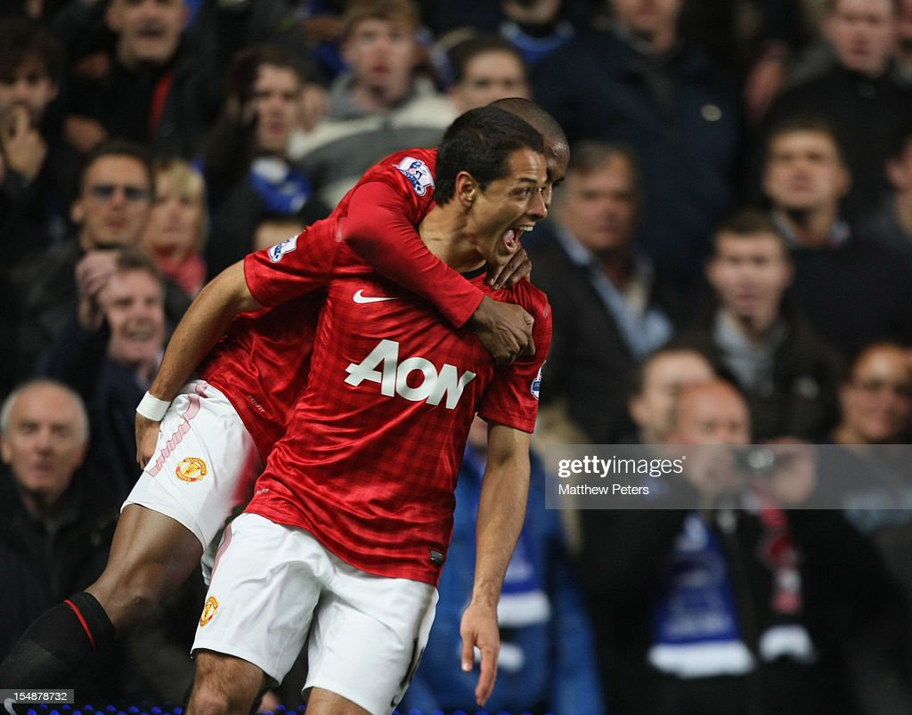 Javier 'Chicharito' Hernandez of Manchester United celebrates scoring their third goal during the Barclays Premier League match between Chelsea and Manchester United at Stamford Bridge on October 28, 2012 in London, England.