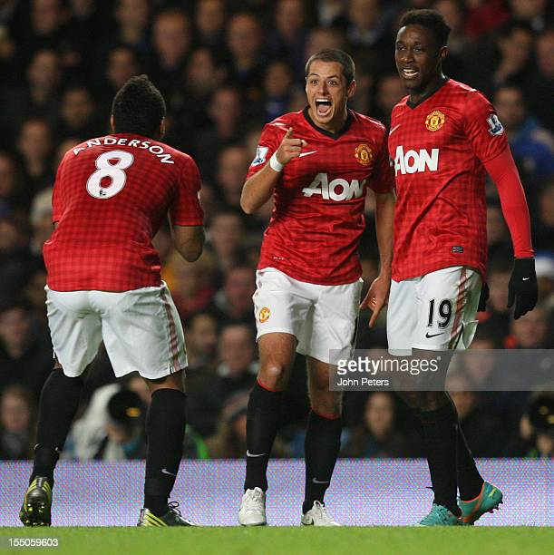 """Javier """"Chicharito"""" Hernandez of Manchester United celebrates scoring their second goal during the Capital One Cup Fourth Round match between Chelsea..."""