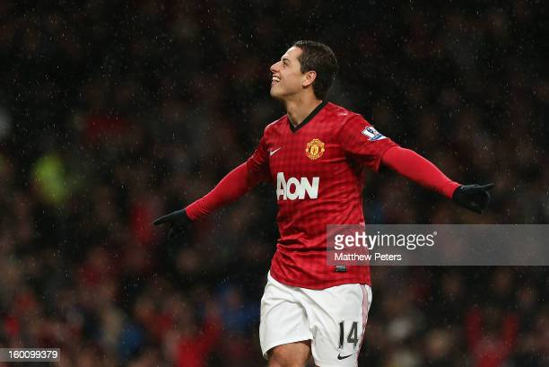Javier 'Chicharito' Hernandez of Manchester United celebrates scoring their fourth goal during the FA Cup Fourth Round match between Manchester...