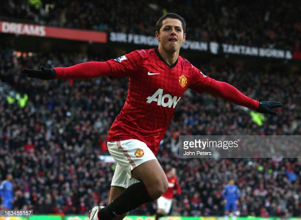Javier Chicharito Hernandez of Manchester United celebrates scoring their first goal during the FA Cup Sixth Round match between Manchester United...