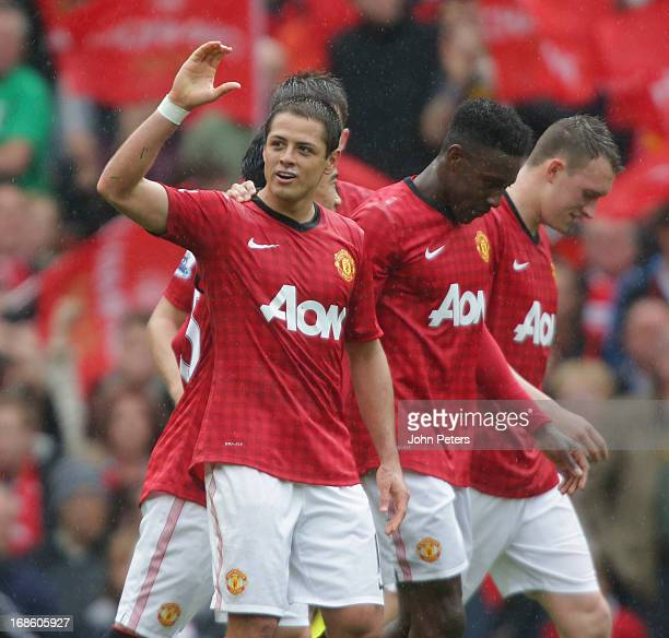 Javier 'Chicharito' Hernandez of Manchester United celebrates scoring their first goal during the Barclays Premier League match between Manchester...