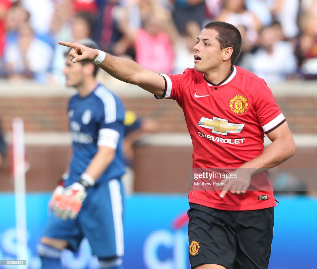 Javier 'Chicharito' Hernandez of Manchester United celebrates scoring their third goal during the pre-season friendly match between Manchester United and Real Madrid at Michigan Stadium on August 2, 2014 in Ann Arbor, Michigan.