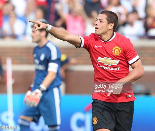 Javier Chicharito Hernandez of Manchester United celebrates scoring their third goal during the preseason friendly match between Manchester United...