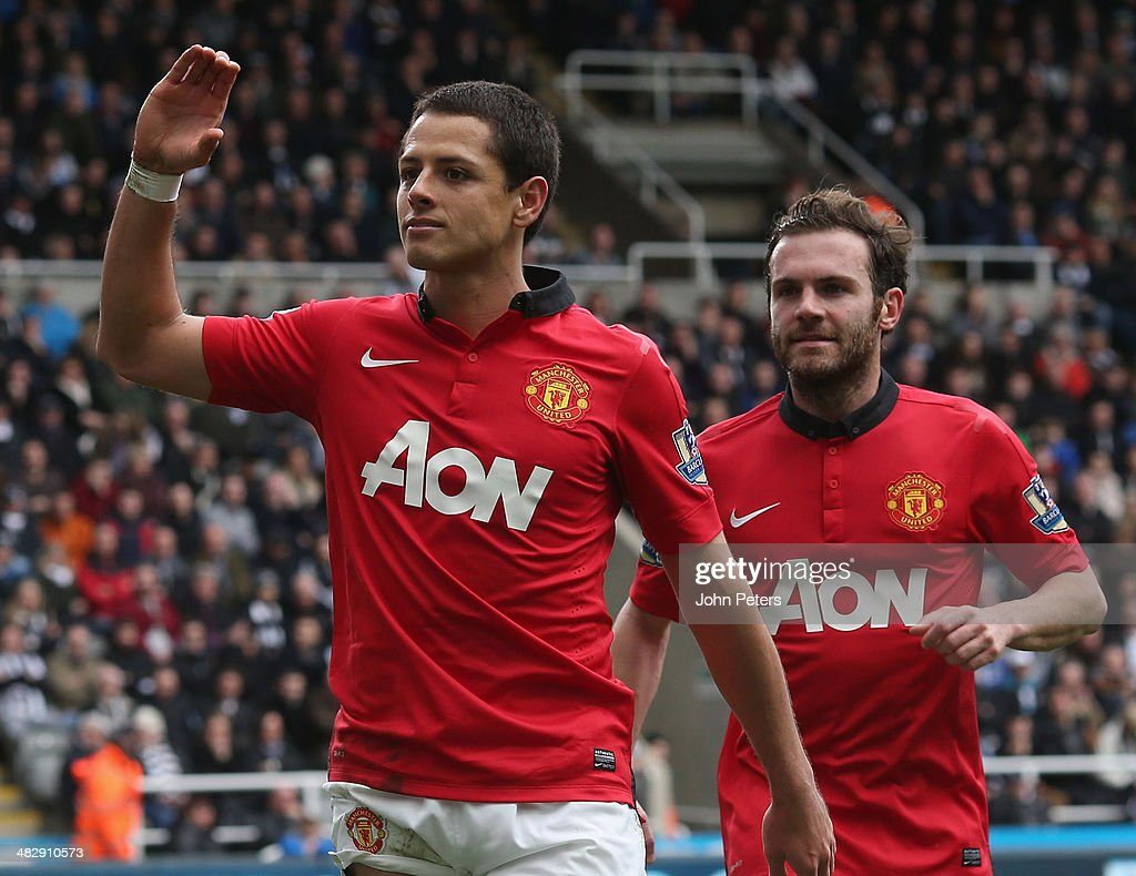 Javier 'Chicharito' Hernandez of Manchester United celebrates scoring their third goal during the Barclays Premier League match between Newcastle United and Manchester United at St James' Park on April 5, 2014 in Newcastle upon Tyne, England.